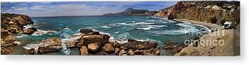 Dramatic Ocean Panorama On Milos Island Greece Canvas Print by David Smith