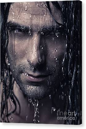 Dramatic Portrait Of Man Wet Face With Long Hair Canvas Print