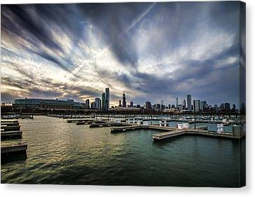 Dramatic Skies Over Chicago's Burham Harbor Canvas Print by Sven Brogren