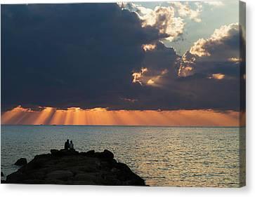 Dramatic Sky With Orange Sun Rays Canvas Print