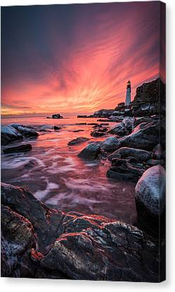 Dramatic Sunrise On The Coast Of Maine Canvas Print by Benjamin Williamson