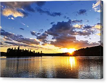 Dramatic Sunset At Lake Canvas Print