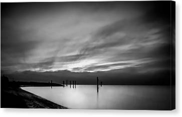 Dramatic Sunset In Black And White Canvas Print by Eva Kondzialkiewicz