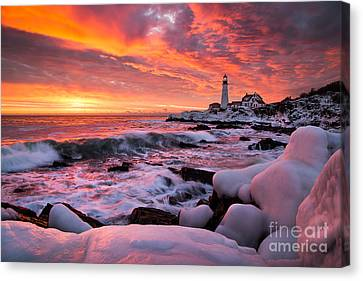 Dramatic Winter Sunrise At Portland Head Light Canvas Print by Benjamin Williamson