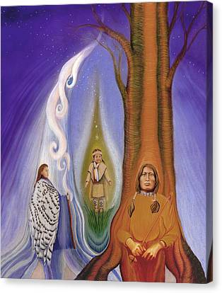 Native American Spirit Portrait Canvas Print - Drawing Family Together by Robin Aisha Landsong