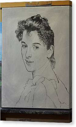 Canvas Print featuring the painting drawing for Gabrielle Cot portrait by Glenn Beasley