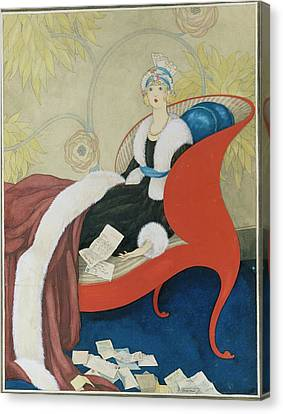 Drawing Of A Woman On A Chaise Surrounded Canvas Print