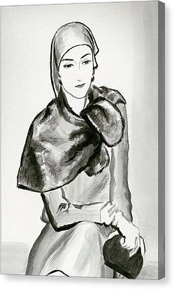 Clutch Bag Canvas Print - Drawing Of A Woman Wearing A Lucien Lelong by Rene Bouet-Willaumez