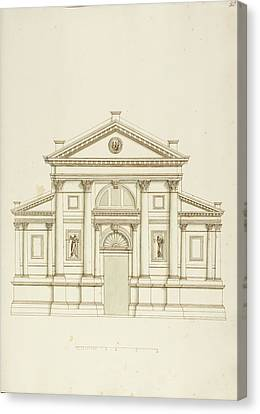 Drawing Of Elevation Of Italian Building Canvas Print by British Library