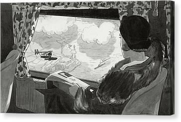 Drawing Of Female Passenger Flying Over Havana Canvas Print by  Lemon