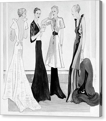 Drawing Of Four Well-dressed Women Canvas Print by Eduardo Garcia Benito