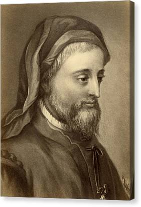 Drawing Of Geoffrey Chaucer Canvas Print by Underwood Archives