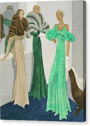 Drawing Of Models Wearing Wool Evening Dresses Canvas Print