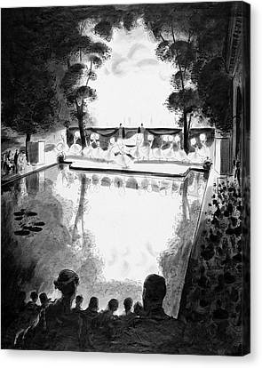 Drawing Of The Gala Blanc At The Fauchier-magnan Canvas Print by Jean Pages