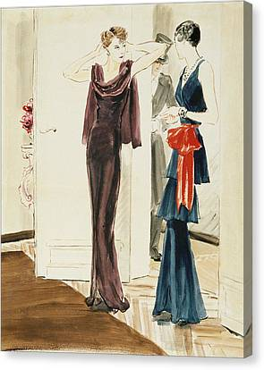 Drawing Of Two Women Wearing Mainbocher Dresses Canvas Print by Ren? Bou?t-Willaumez