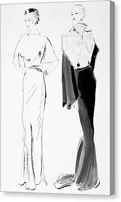 Drawing Of Women In Evening Wear Canvas Print by Ren? Bou?t-Willaumez