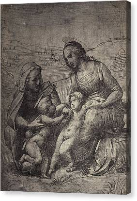 Drawing Raphael From Windsor Castle, Mary With Jesus Canvas Print by Artokoloro