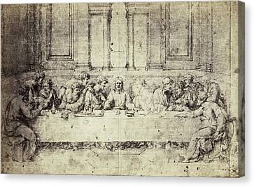Last Supper Canvas Print - Drawing Raphael From Windsor Castle, The Last Supper by Artokoloro