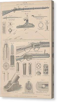 Drawings Of Gun Parts Canvas Print by Anon