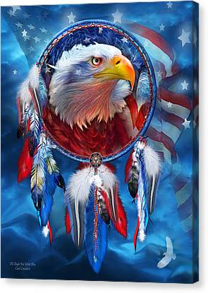 Canvas Print featuring the mixed media Dream Catcher - Eagle Red White Blue by Carol Cavalaris
