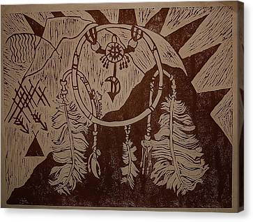 Linoleum Cut Canvas Print - Dream Catcher by Sharon Leigh