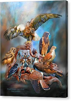Dream Catcher - Spirit Birds Canvas Print by Carol Cavalaris