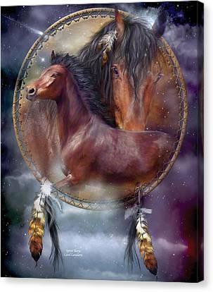 Dream Catcher - Spirit Horse Canvas Print by Carol Cavalaris