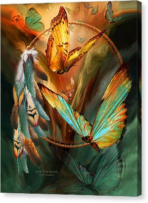 Dream Catcher - Spirit Of The Butterfly Canvas Print by Carol Cavalaris