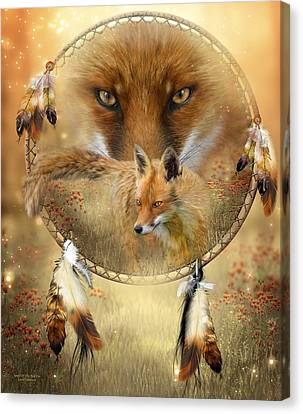 Canvas Print featuring the painting Dream Catcher- Spirit Of The Red Fox by Carol Cavalaris