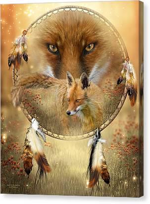 Dream Catcher- Spirit Of The Red Fox Canvas Print by Carol Cavalaris