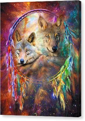 Wolves Canvas Print - Dream Catcher - Wolf Spirits by Carol Cavalaris