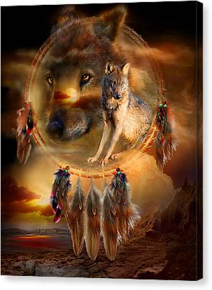 Spirits Canvas Print - Dream Catcher - Wolfland by Carol Cavalaris