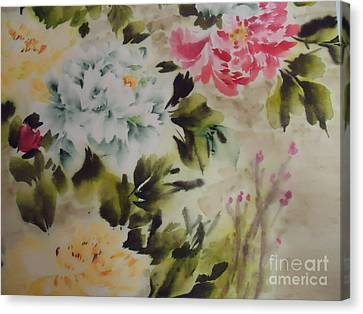 Canvas Print featuring the painting Dream  Flower 0727-4 by Dongling Sun