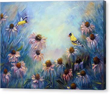 Dream Garden With Goldfinches And Coneflowers Canvas Print by Loretta Luglio