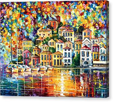 Port Town Canvas Print - Dream Harbor by Leonid Afremov