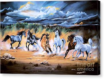 Dream Horse Series 125 - Flat Bottom River Wild Horse Herd Canvas Print