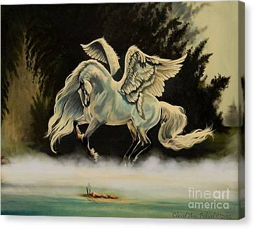 Dream Horse Series #206- A Pegasus In The Mist  Canvas Print