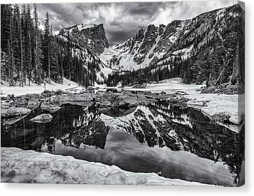 Dream Lake Morning Monochrome Canvas Print by Darren  White