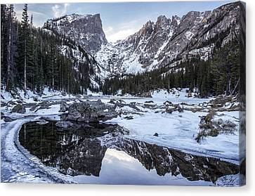 Dream Lake Reflection Canvas Print by Aaron Spong