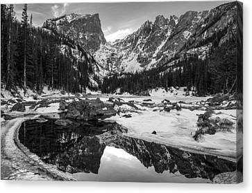 Dream Lake Reflection Black And White Canvas Print by Aaron Spong