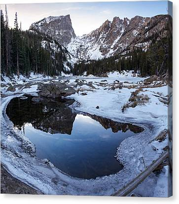 Canvas Print featuring the photograph Dream Lake Reflection Square Format by Aaron Spong