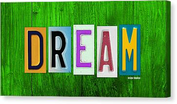 Dream License Plate Letter Vintage Phrase Artwork On Green Canvas Print by Design Turnpike
