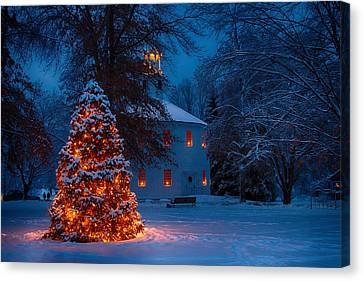 Christmas At The Richmond Round Church Canvas Print by Jeff Folger