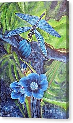 Dream Of A Blue Dragonfly Canvas Print by Kimberlee Baxter