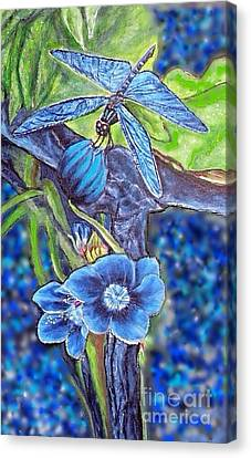 Dream Of A Blue Dragonfly Over Water Canvas Print by Kimberlee Baxter
