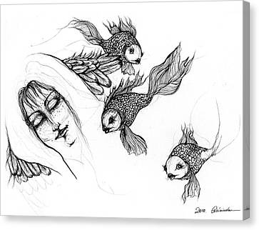 Dream Of Goldfish Canvas Print by Angel  Tarantella