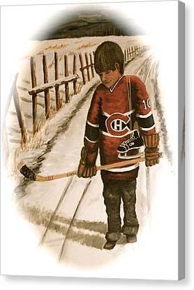 Youth Hockey Canvas Print - Dream Walking - Lil Hab II by Ron  Genest