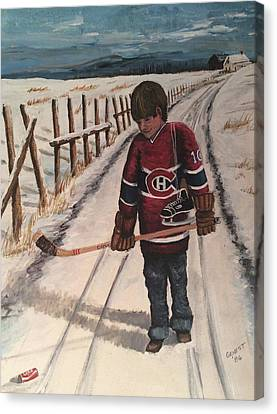 Youth Hockey Canvas Print - Dream Walking - Lil Hab by Ron  Genest