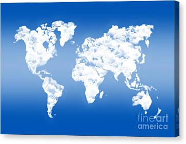 Dreamer World Map Canvas Print by Delphimages Photo Creations