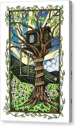 Climbing Canvas Print - Dreamhouse In A Tree by Jennifer Allison